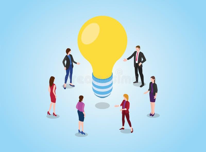 Ideias da busca ou do achado ou conceito da solução com debate da discussão da equipe em encontrar o amarelo da ampola com estilo ilustração do vetor