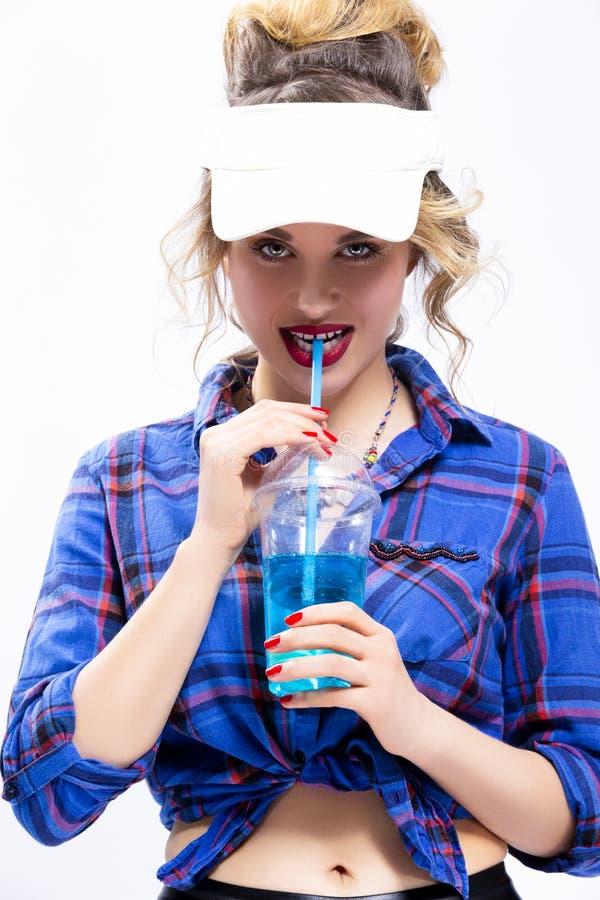 Ideias da juventude do estilo de vida Mulher loura caucasiano provocante 'sexy' fotografia de stock royalty free