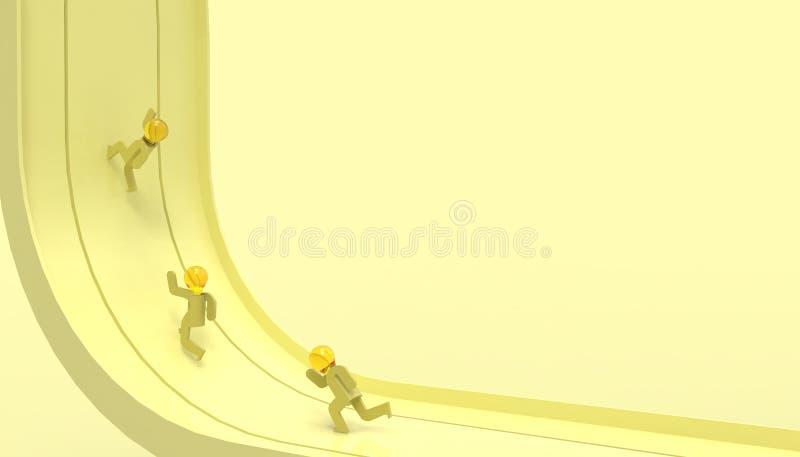 Ideias do conceito do negócio - o trajeto de corrida do líder no negócio e em tons amarelos de pensamento artísticos da cor paste ilustração do vetor