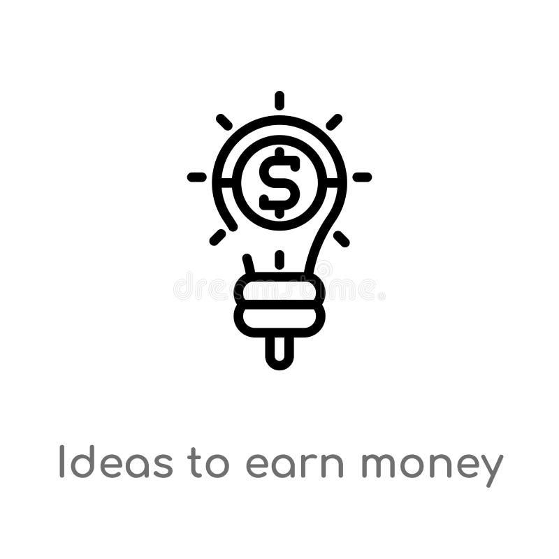 ideias do esbo?o ganhar o ?cone do vetor do dinheiro linha simples preta isolada ilustra??o do elemento do conceito do neg?cio Ve ilustração stock