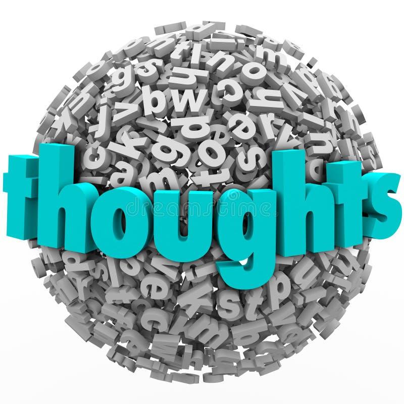 Ideias do feedback dos comentários da esfera da letra dos pensamentos ilustração do vetor