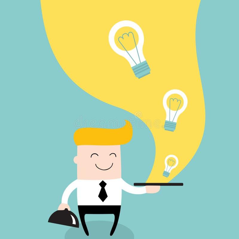 Ideias do saque do homem de negócios no negócio da placa ilustração do vetor