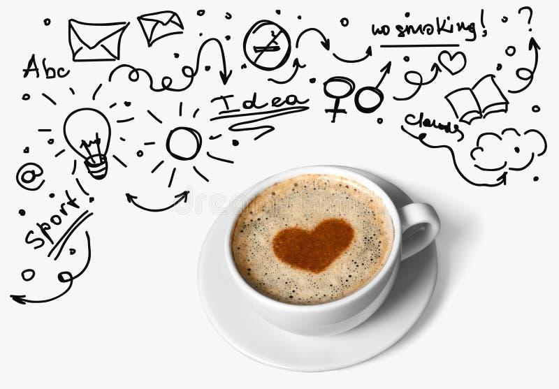 Ideias e café fotografia de stock