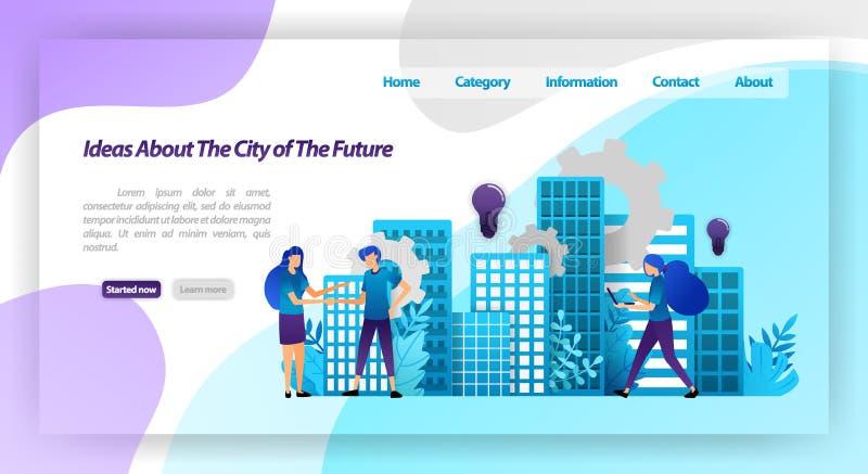 Ideias para uma cidade melhor no futuro, o mecanismo da cidade e a cooperação espertos com a agitação das mãos conceito da ilustr ilustração royalty free