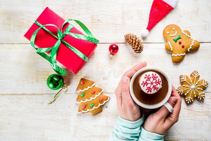 Ideias quentes da bebida do Natal, menina que bebe o chocolate quente imagem de stock royalty free