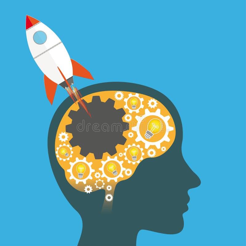 Ideias Rocket Startup do bulbo da cabeça humana de rodas de engrenagem ilustração do vetor