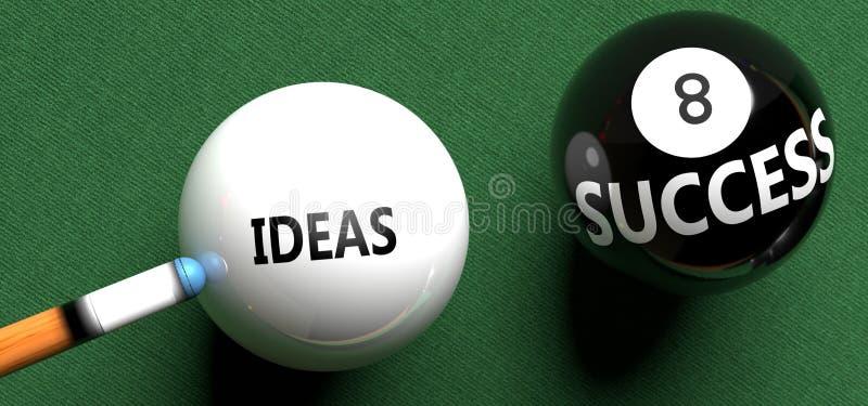 Ideias trazem sucesso - ilustradas como palavras Ideias numa bola de bilhar, para simbolizar que Ideias podem iniciar sucesso, 3d fotografia de stock