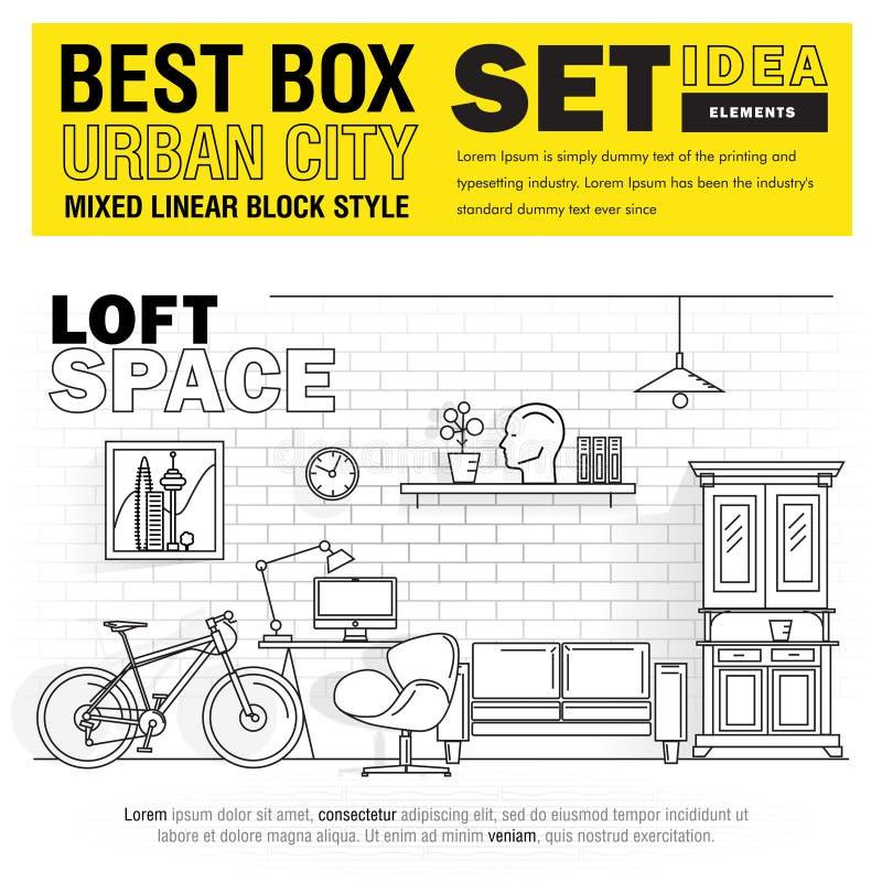 Ideias urbanas do grupo de elementos da cidade da melhor caixa moderna ilustração do vetor