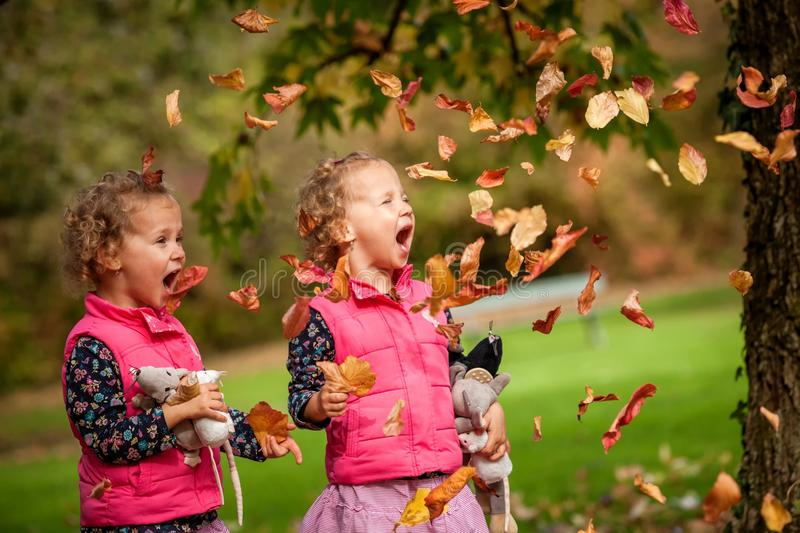 Identical twins having fun with autumn leaves, blond cute curly girls, happy family, beautiful girls in pink jackets royalty free stock photos