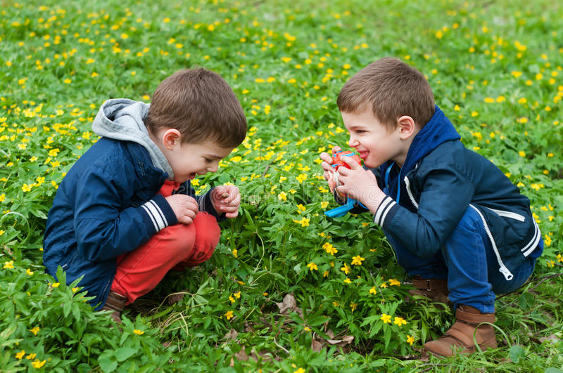 Identical twins playing photographer royalty free stock image