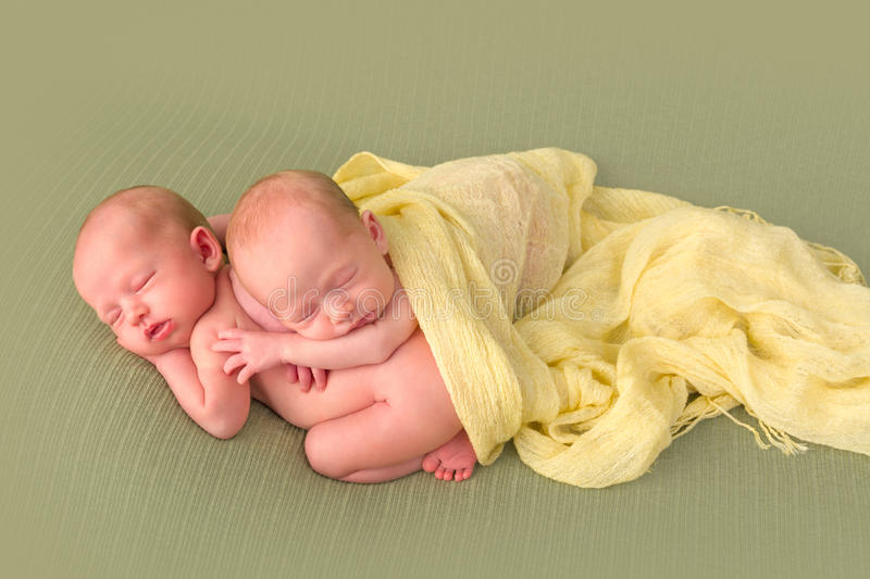 Identical twins sleeping. 3 weeks old identical twin girls sleeping on a green backdrop royalty free stock image