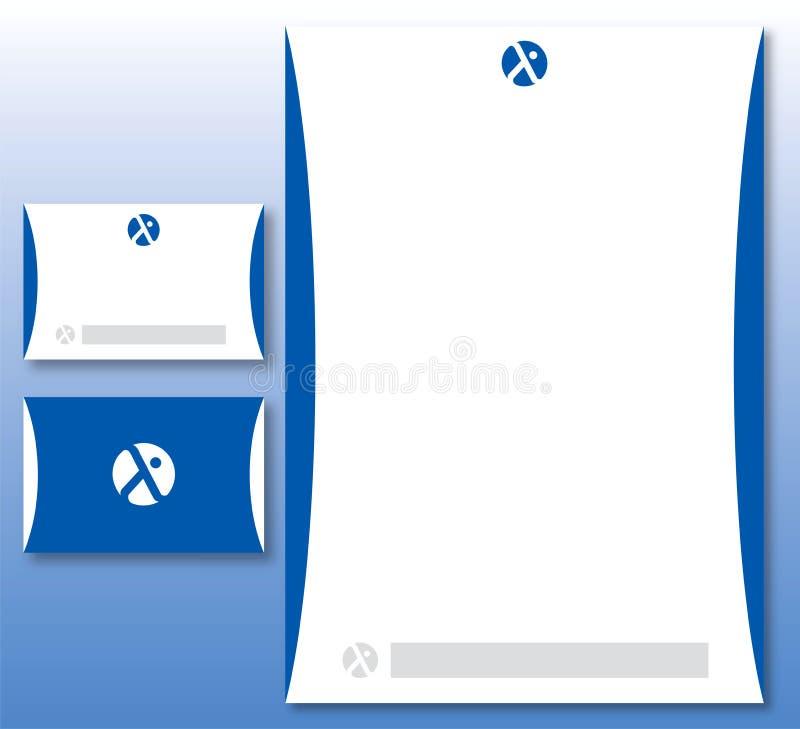 Identidad corporativa fijada - insignia abstracta en azul libre illustration