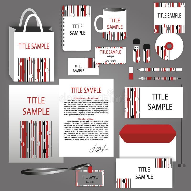 Identidad corporativa roja, plantilla blanco y negro del vector stock de ilustración