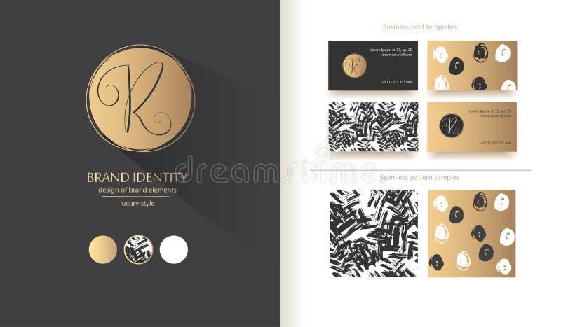 Identidad de marca de lujo Letra de la caligrafía R - diseño sofisticado del logotipo Diseños de la tarjeta de visita de los pare ilustración del vector
