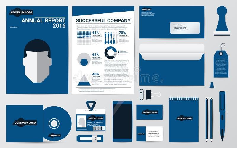 Identidad e inmóvil corporativos en plantilla azul del tema ilustración del vector