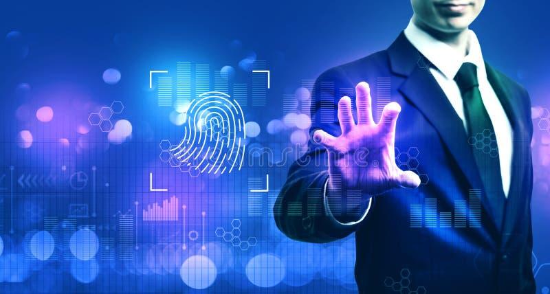 Identidade biométrica da impressão digital com homem de negócios imagens de stock
