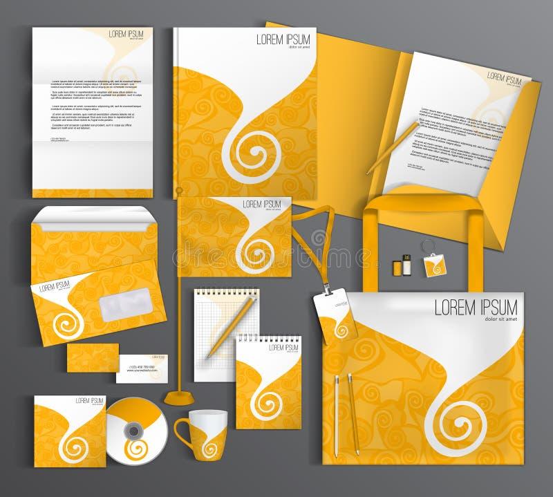 Identidade corporativa ajustada com um teste padrão amarelo ilustração stock