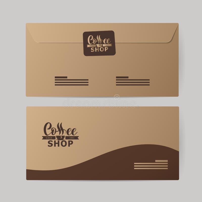 Identidade corporativa da indústria do café Molde dos envelopes de papel, placas ilustração do vetor