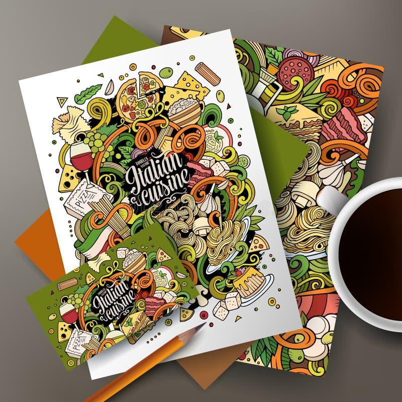 Identidade corporativa italiana do alimento das garatujas desenhados à mão dos desenhos animados ilustração royalty free