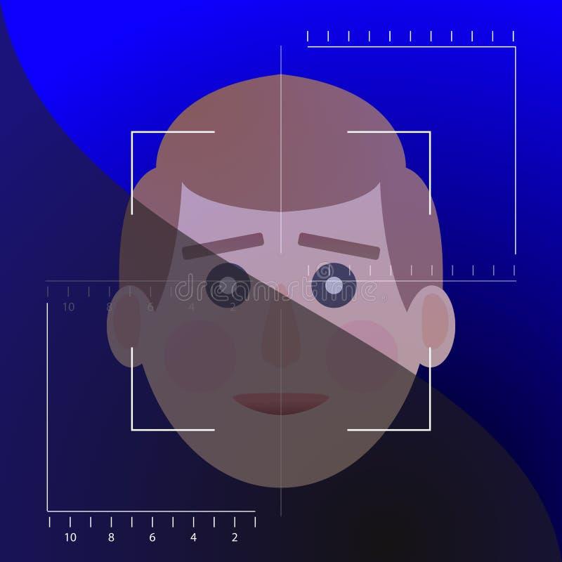 Identificação biometrical da detecção da cara ilustração royalty free