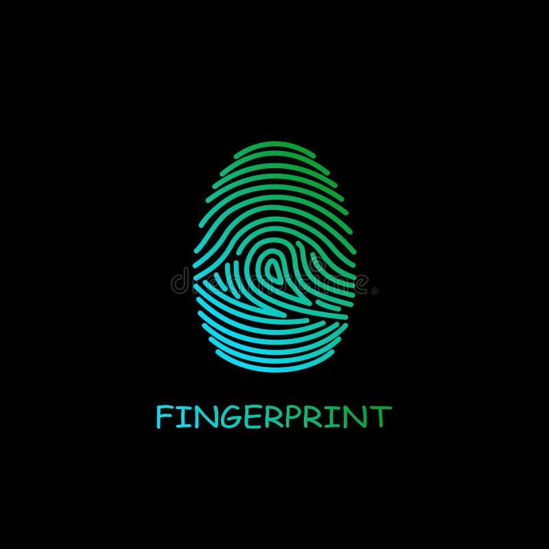 Identificação colorida do ícone da impressão digital Segurança e sistema de vigilância ilustração royalty free