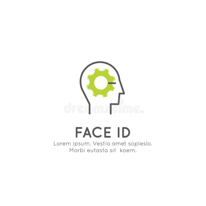 Identificação da cara, início de uma sessão, reconhecimento, destravando um dispositivo, senha ilustração stock