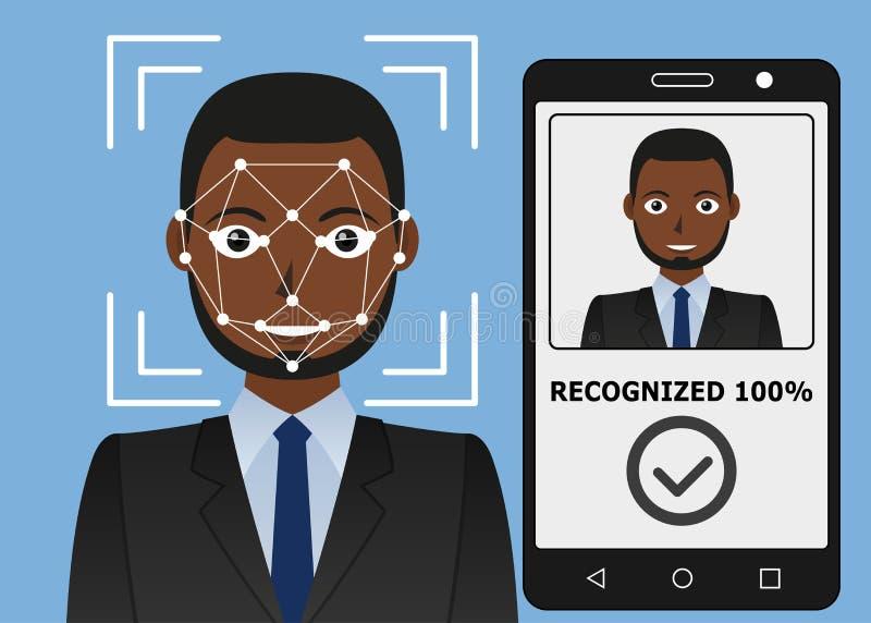 Identificação de Biometrical Reconhecimento de cara ilustração do vetor