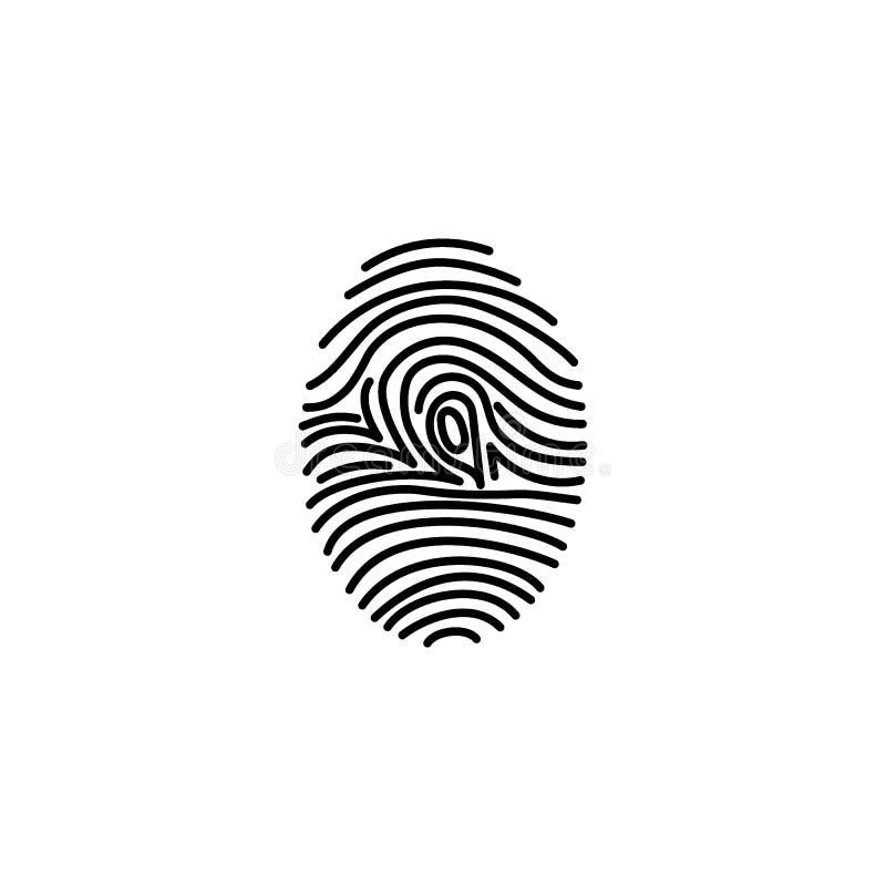 Identificação do ícone da impressão digital ilustração do vetor