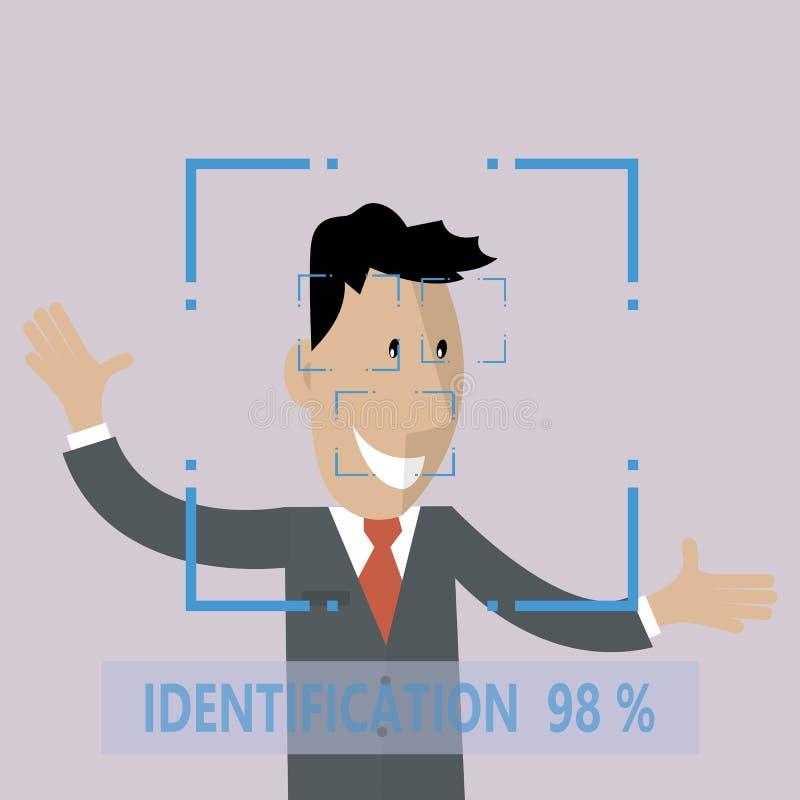 Identificação facial biométrica ilustração do vetor