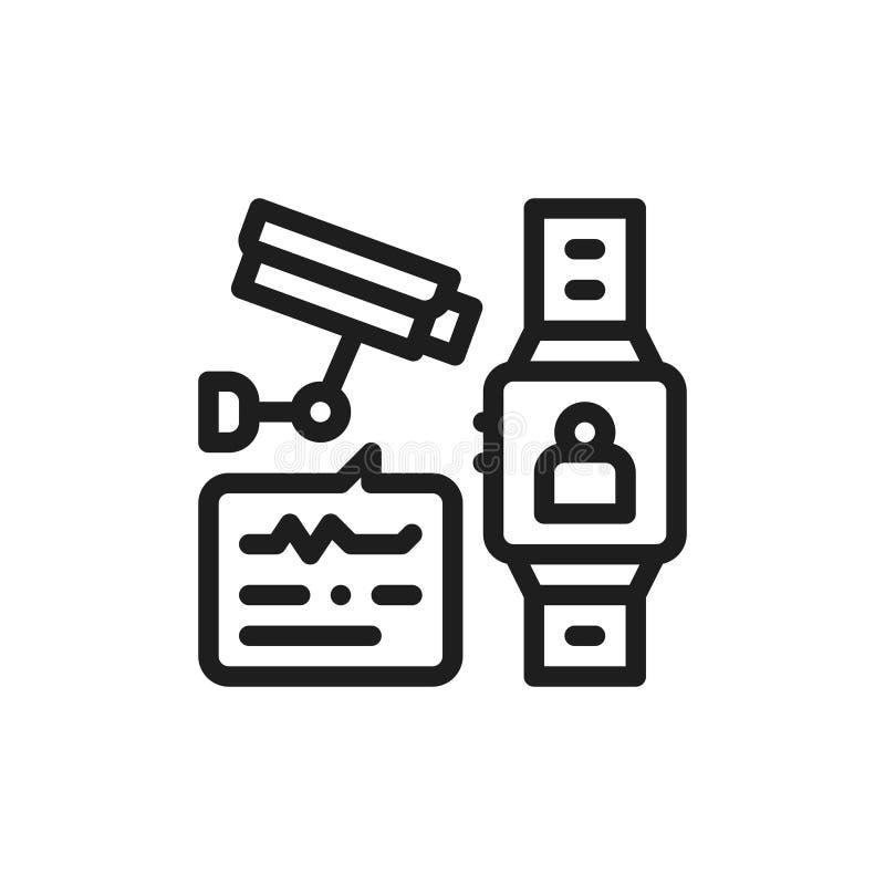 Identificação lisa da cara do ícone Conceito do controle esperto do relógio Desenho de esboço isolado Linha ilustração sinal para imagens de stock