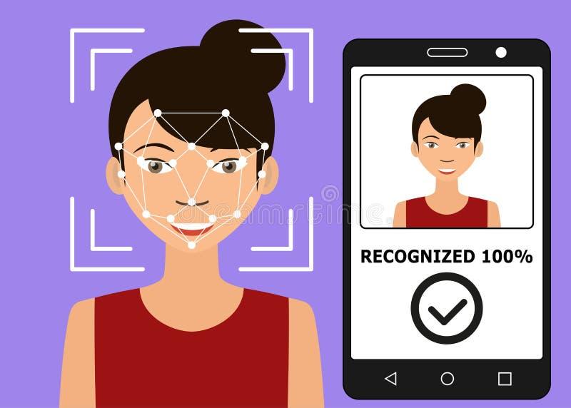 Identificación de Biometrical Reconocimiento de cara stock de ilustración