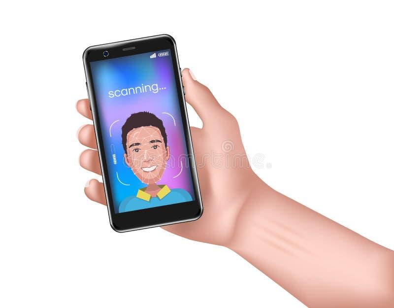 Identificación de la cara Concepto del reconocimiento de cara La mano del hombre está sosteniendo el teléfono con rejilla de la e libre illustration