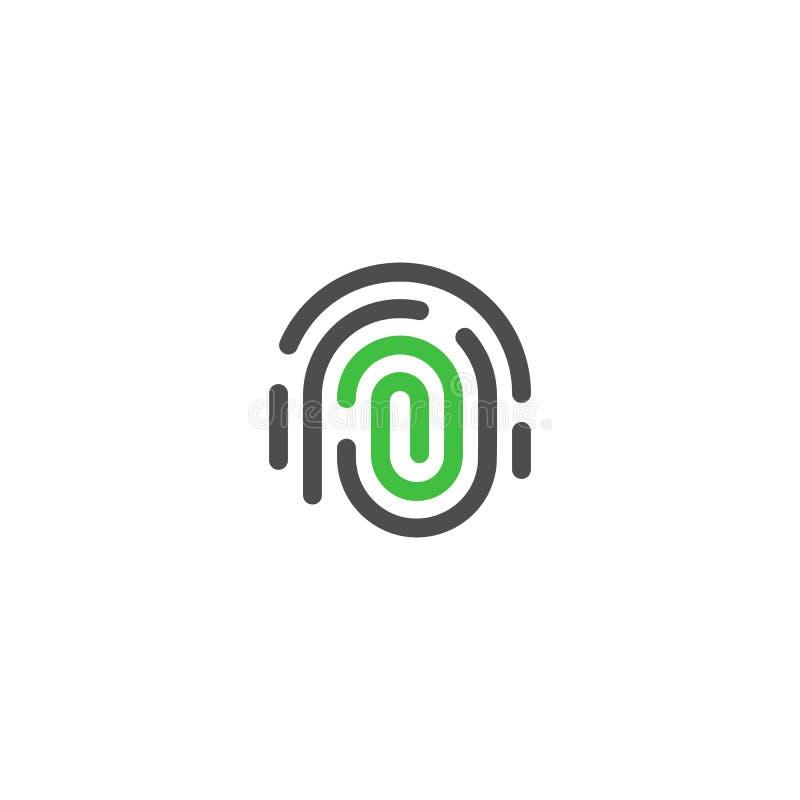 Identificación de la persona, logotipo del extracto del vector del thumbprint Tecnología de seguridad, seguridad personal del web stock de ilustración