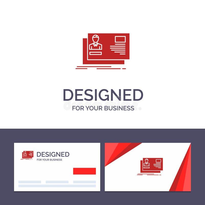 Identificación de visita de la plantilla creativa de la tarjeta y del logotipo, usuario, identidad, tarjeta, ejemplo del vector d ilustración del vector