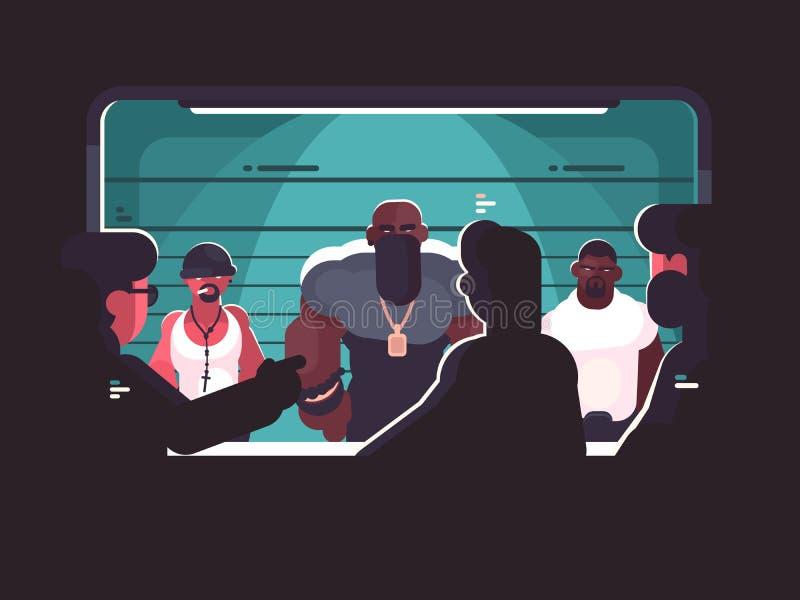 Identificación del criminal a través del vidrio libre illustration