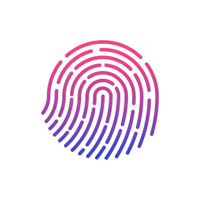 Identificación del tacto Reconocimiento de la huella dactilar Ilustración del vector libre illustration