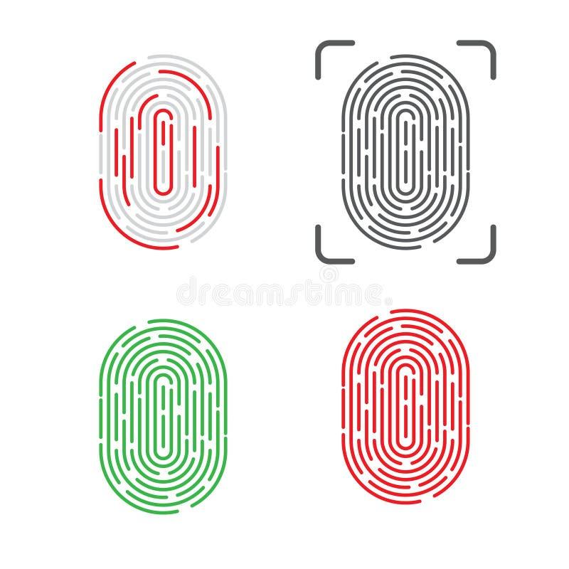 Identificación del tacto Reconocimiento de la huella dactilar Ilustración del vector ilustración del vector