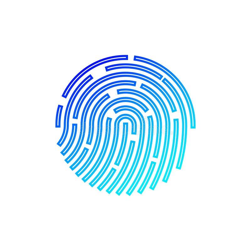 Identificación del tacto Reconocimiento de la huella dactilar Ilustración del vector stock de ilustración