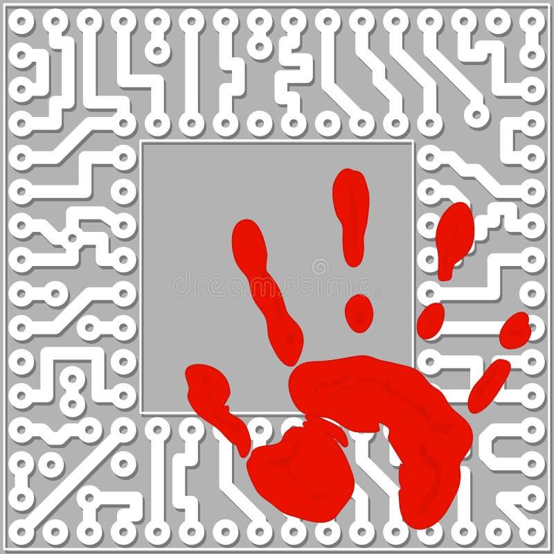 Identificación Personal Por Los Handprints. Te Del Ordenador Imagenes de archivo