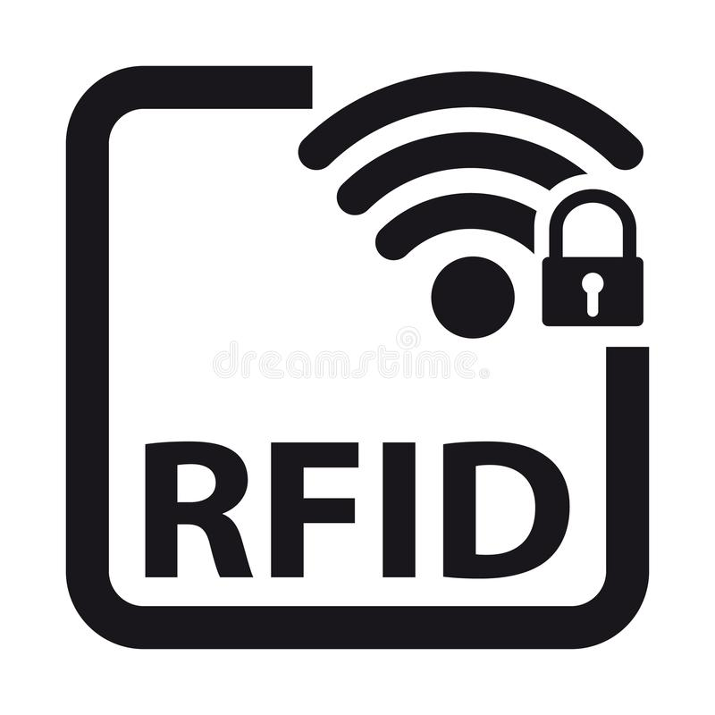 Identificación RFID - ejemplo de la radiofrecuencia del vector - aislada en blanco libre illustration
