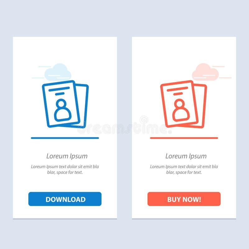 Identificación, tarjeta, tarjeta de la identificación, azul del paso y transferencia directa roja y ahora comprar la plantilla de stock de ilustración