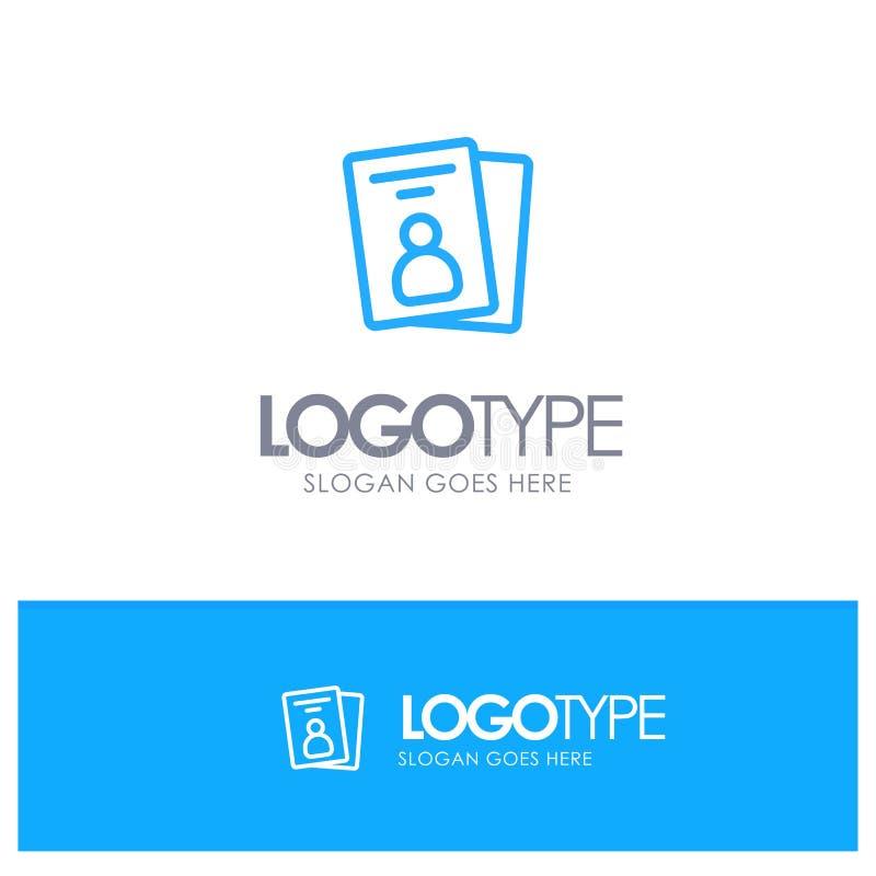 Identificación, tarjeta, tarjeta de la identificación, esquema azul Logo Place del paso para el Tagline ilustración del vector