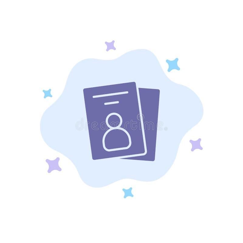 Identificación, tarjeta, tarjeta de la identificación, icono azul del paso en fondo abstracto de la nube libre illustration