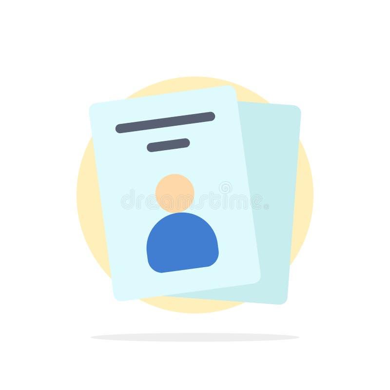 Identificación, tarjeta, tarjeta de la identificación, icono plano del color de fondo del círculo del extracto del paso libre illustration