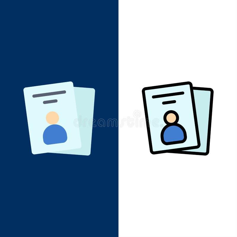 Identificación, tarjeta, tarjeta de la identificación, iconos del paso El plano y la línea icono llenado fijaron el fondo azul de ilustración del vector