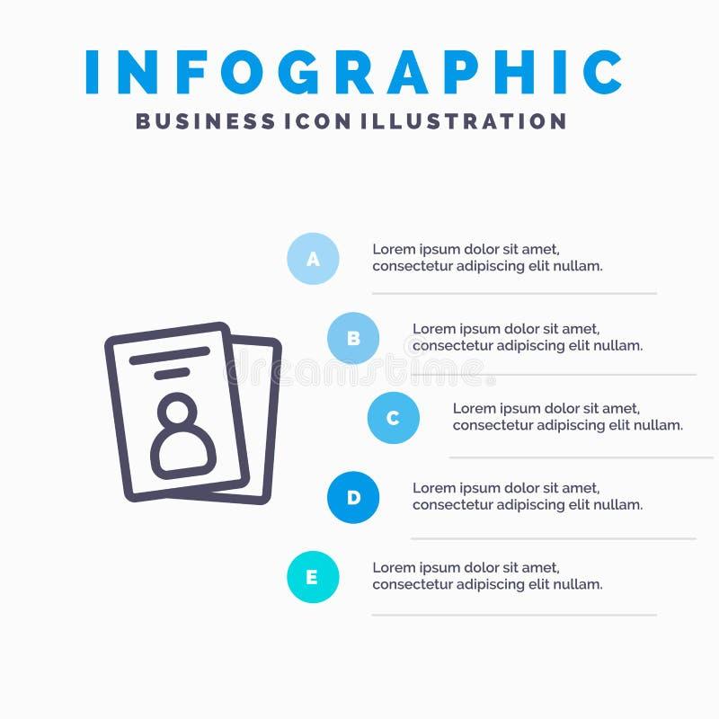 Identificación, tarjeta, tarjeta de la identificación, línea icono del paso con el fondo del infographics de la presentación de 5 libre illustration
