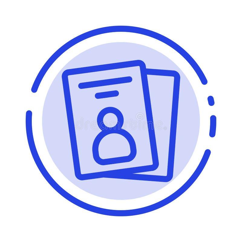 Identificación, tarjeta, tarjeta de la identificación, línea de puntos azul línea icono del paso ilustración del vector