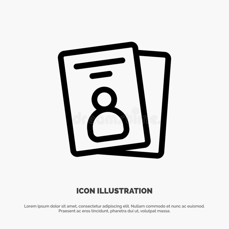 Identificación, tarjeta, tarjeta de la identificación, línea vector del paso del icono libre illustration