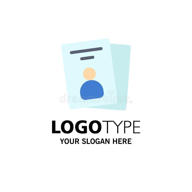 Identificación, tarjeta, tarjeta de la identificación, negocio Logo Template del paso color plano stock de ilustración