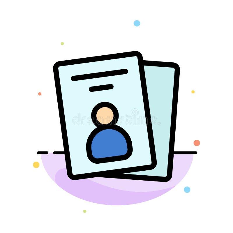Identificación, tarjeta, tarjeta de la identificación, plantilla plana del icono del color del extracto del paso stock de ilustración